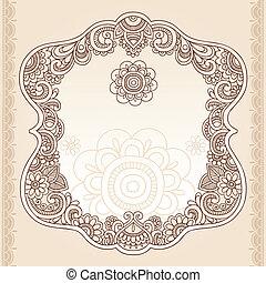 tatoeëren, paisley, henna, frame, doodle