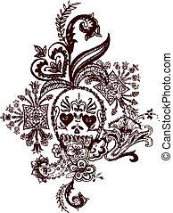 tatoeëren, paisley, schedel, rots