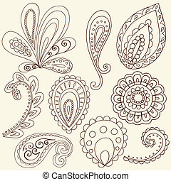 tatoeëren, paisley, vector, henna, doodles