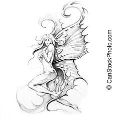 tatoeëren, schets, kunst, elfje
