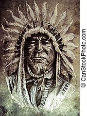 tatoeëren, schets, leider, amerikaan indiaas, inlander, hoofd, kunst, vintag