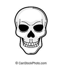 tatoeëren, school, oud, schedel, symbool., illustratie, retro, spotprent