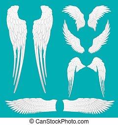 tatoeëren, set, heraldisch, vleugels, ontwerp, of, mascotte