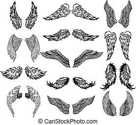 tatoeëren, set, vleugels