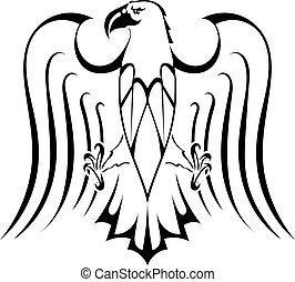 tatoeëren, silhouette, adelaar