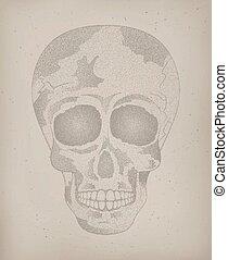 tatoeëren, skull., poster, dood, menselijk, ouderwetse , dag