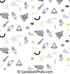 tatoeëren, stijl, doodle, flits, pattern., seamless, vector, hipster