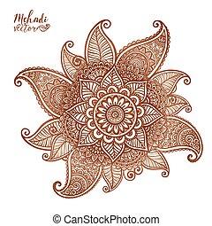 tatoeëren, stijl, henna, element, vector, mehndi, floral