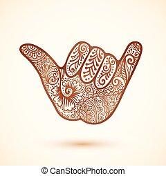 tatoeëren, stijl, indiër, henna, hand, shaka, surfers