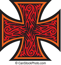 tatoeëren, stijl, kruis, ijzer