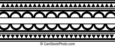 tatoeëren, stijl, maori, armband, /, black , polynesiër, ...