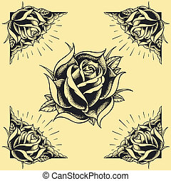 tatoeëren, stijl, ontwerp, frame, rozen