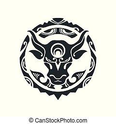 tatoeëren, stijl, polynesiër, stier