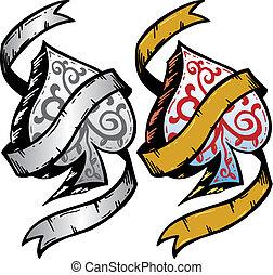 tatoeëren, stijl, schoppen, aas, illustratie, vector