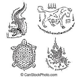 tatoeëren, thai, vector, oud