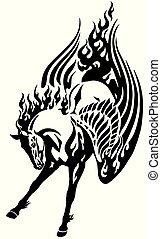tatoeëren, van een stam, pegasus