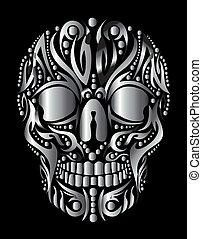 tatoeëren, van een stam, vector, kunst, schedel