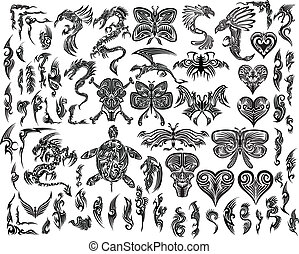 tatoeëren, van een stam, vector, set, iconic