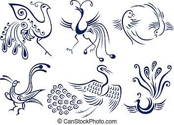 tatoeëren, van een stam vogel, illustratie