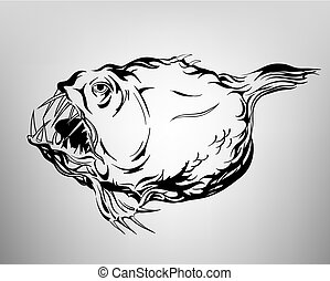 Tatoo fish, drawing ink white and black