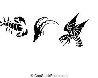 tatoo simbols on white background