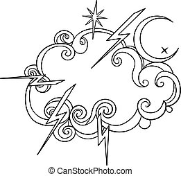 tatouage, éclair, grands traits, cloud., croissant, isolated...
