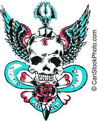tatouage, aile, crâne, rocher