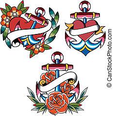 tatouage, ancre