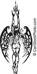 tatouage, ange