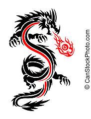 tatouage, ardent, dragon