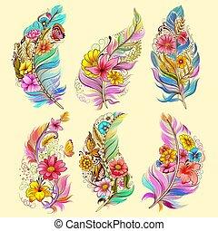 tatouage, art, collection, conception, floral, plume