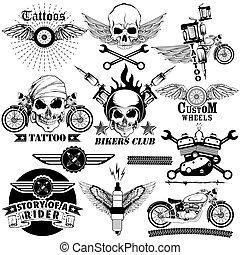 tatouage, art, crâne, collection, vélo, conception, cavalier