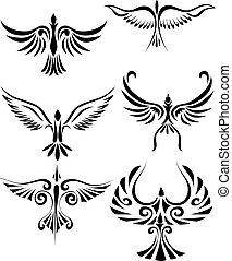 tatouage, birdd, tribal