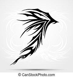 tatouage, celtique, tribal, saloons., noir, tattoo.