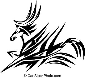 tatouage, cheval, conception, vendange, engraving.