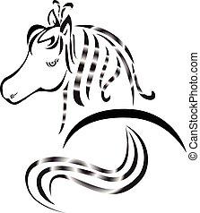 tatouage, cheval, logo