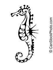 tatouage, cheval, mer noire, silhouette.