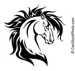 tatouage, cheval, tête