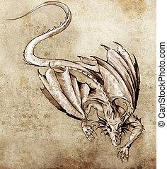 tatouage, croquis, art moderne, dragon