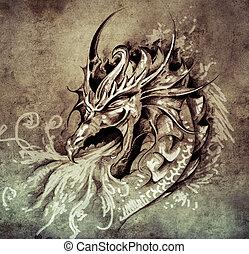 tatouage, croquis, brûler, vendange, dragon, papa, colère, blanc, art