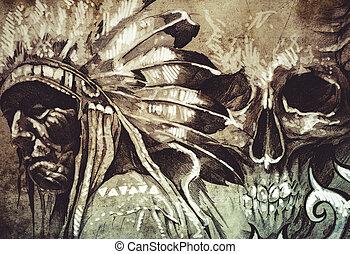 tatouage, croquis, crâne, Guerrier,  tribal, Américain, chef, Indien