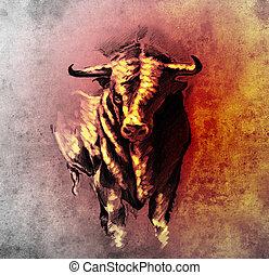 tatouage, croquis, dangereux, cornes, taureau, espagnol, beaked, taureau, art