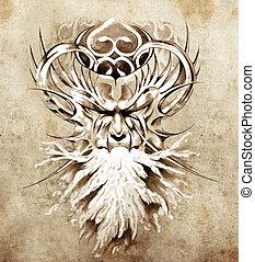 tatouage, croquis, monstre, brûler, masque, blanc, art