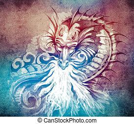 tatouage, croquis, moyen-âge, brûler, o, dragon, fantasme, blanc, art