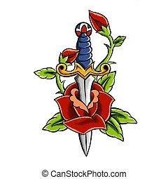 tatouage, croquis, poignard, rose., illustration, main, converti, dessiné