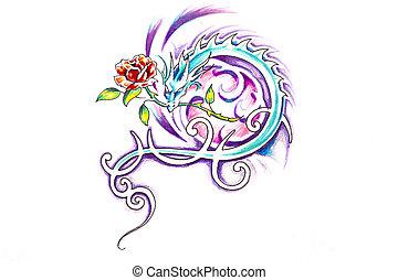 tatouage, croquis, rose, art, dragon