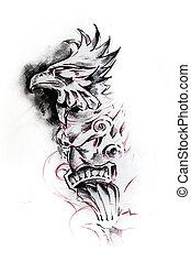 tatouage, croquis, totem