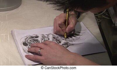 tatouage, dessin, artiste