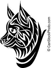 tatouage, engraving., conception, renard, vendange