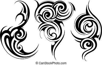 tatouage, ensemble, ethnique